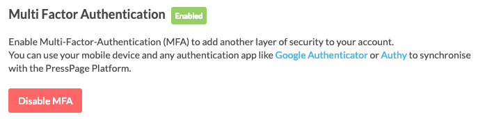 enabled two factor authentication