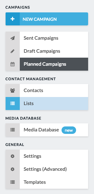 lists option in sidebar