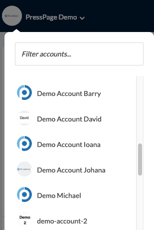 drop down menu showing all accounts