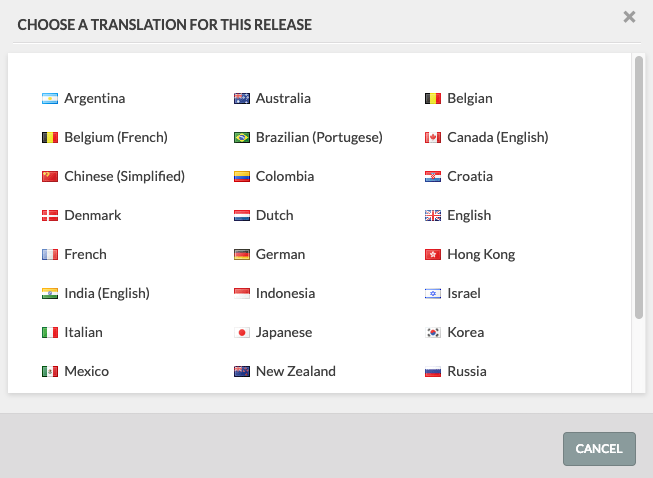 list of translations with little flags