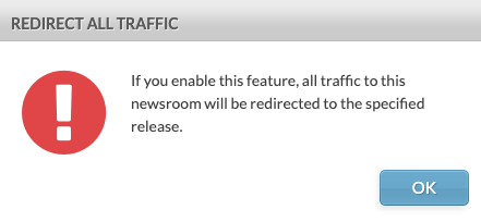 redirect traffic confirmation dialogue